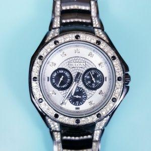 Bulova Black Stainless Steel Crystal Chronograph